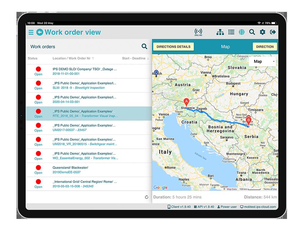 IPS®MobApp maps